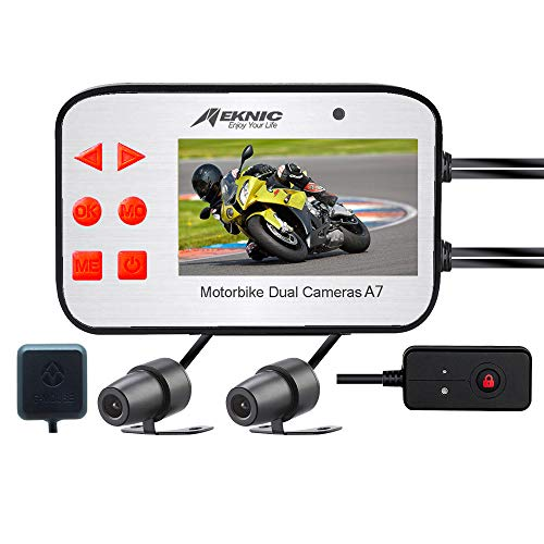 MEKNIC A7 Motorcycle Camera,with GPS Dual Lens 1080P Video Security Motorbike Camera System 2.7
