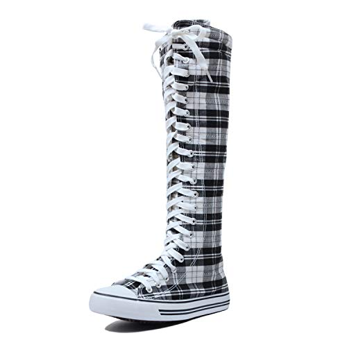 (West BLVD Sneaker Boots Black White Plaid Canvas, 8.5)