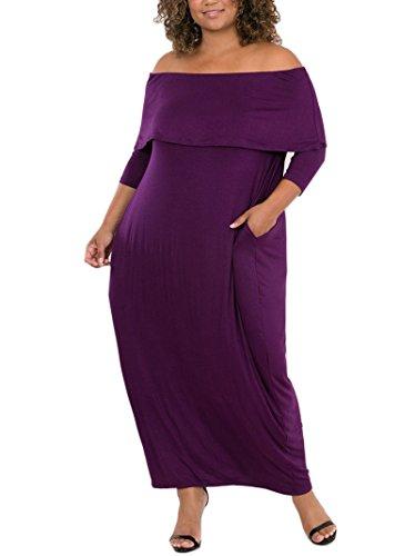 My Shoulder Long Sleeve Pocket Maxi Dress Purple XXL (Purple Soft Dress)