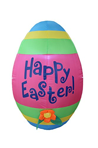 4 Foot Tall Inflatable Party Cute Colorful Easter Egg with Flower - Yard Blow Up -
