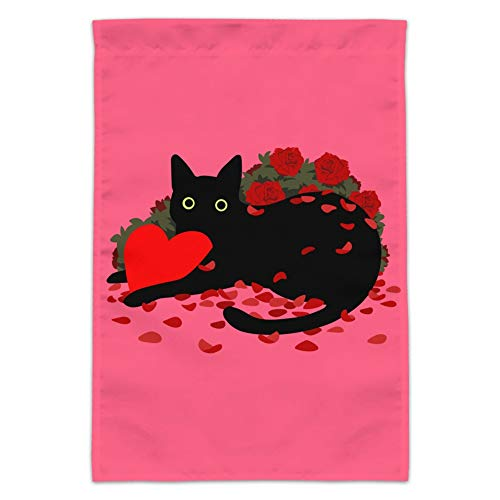 GRAPHICS & MORE Black Cat Valentines Heart Rose Petals Love Garden Yard Flag (Pole Not Included)]()