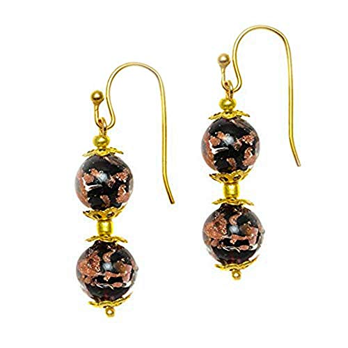 Just Give Me Jewels Genuine Venice Murano Sommerso Aventurina Glass Bead Dangle Earrings - Black (Just Give Me Jewels)