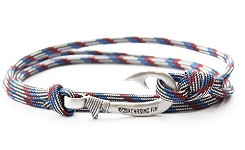 - Chasing Fin Adjustable Bracelet 550 Military Paracord with Fish Hook Pendant (Captain America)
