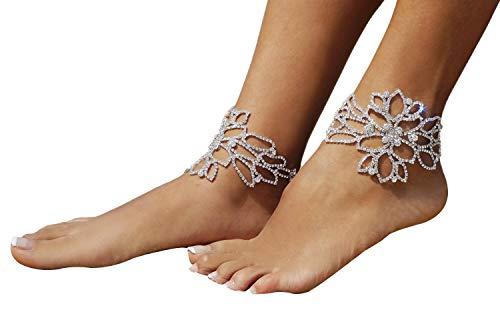 Bellady Womens 2 Pcs Rhinestone Anklet Flower Design Charming Adjustable Foot Bracelet, Flower Design ()