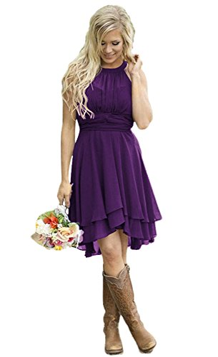 Andybridal Women's Country High Low Halter Chiffon Bridesmaid Dress Western Wedding Guest Dress Purple 16