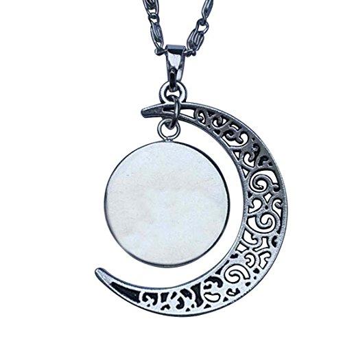 GiftJewelryShop Scorpio Zodiac Crescent Moon Galactic Universe Glass Cabochon Pendant Necklace