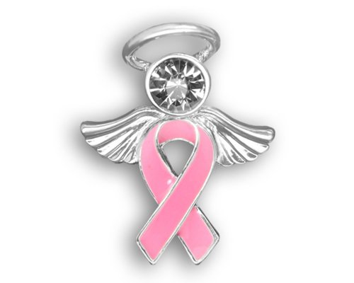 12 Breast Cancer Awareness Pink Angel Ribbon Pins (12 Pins - Wholesale) Cancer Research Pins