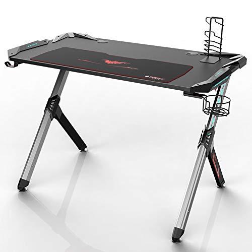 Price comparison product image Eureka Ergonomic R1-S Gaming Desk – Gaming Computer Desk,  Gaming Table PC Gamers Desk with RGB Lights,  Carbon Fiber Texture Desktop