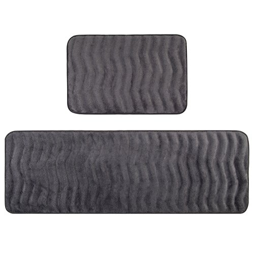 Pauwer Kitchen Rugs Set of 2 Anti Fatigue Cushioned Memory Foam Kitchen Rugs and Mats Non Skid Washable Long Kitchen Runner Rug (16''x24''+16''x47'', Grey) by Pauwer