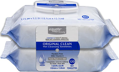 Equate Original Clean Facial Cleansing Towelettes 120 Total (compare to Pond's Original Fresh) 60 Ct Twin Pack packaging may vary
