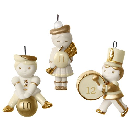 12 Little Days of Christmas: Set of Days 10-12 Mini Porcelain Ornaments