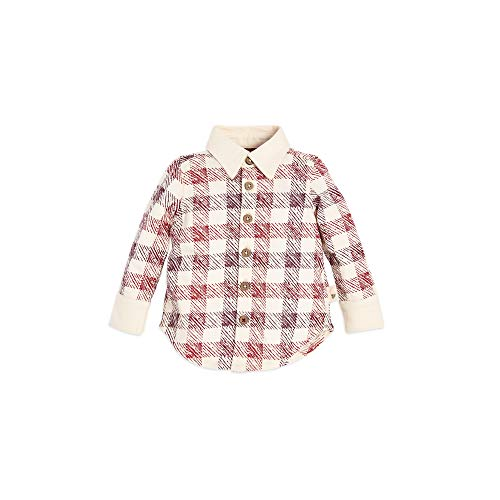 s, Long Sleeve Button-Up Plaid Shirts, 100% Organic Cotton, Cranberry Stamped Check, 0-3 Months ()