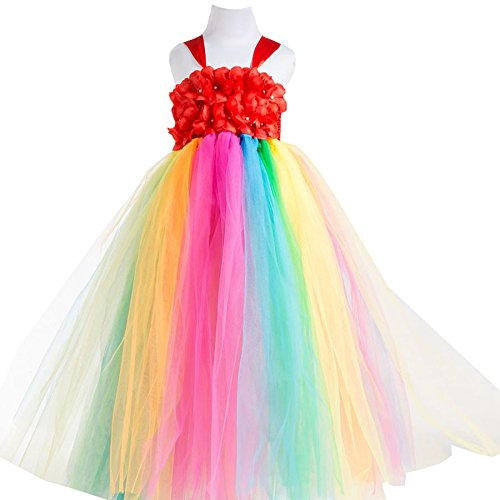 Dance Costumes Robe Purchase (New Flower Girl Rainbow Tulle Dress Skirt Frilly Flower Dance Tutu Prom Robe Ball Gown Long)