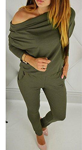 Femme Trousers Combinaison Epaule Bateau D Col Sexy AAPq41wH