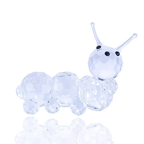 H&D Clear Crystal Caterpillar Collectible Figurine Mini Animal Statue