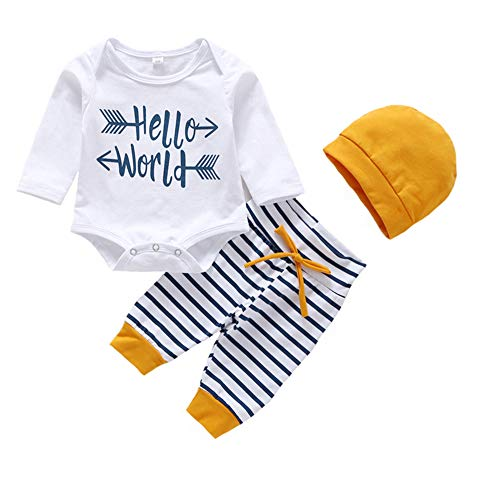 e5deacb3f4d5 3Pcs Infant Newborn Baby Girls Hello World Romper Tops+Pants Clothes Outfit  Sets (0