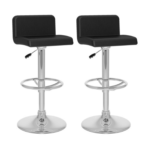 CorLiving Low Back Adjustable Bar Stool, Black Leatherette, Set of 2