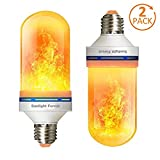 LED Flame Effect Light Bulbs, Calmsen E26 E27 Flickering Fire Light Bulbs with 4 Modes, 5W Flame Bulb for Christmas, Home Decor, Party, Restaurant, Outdoor - 2 Pack