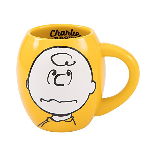 Vandor Peanuts Charlie Brown 18-Ounce Oval Ceramic Mug (85461)]()