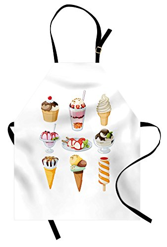 Lunarable Ice Cream Apron, Tasty Desserts Drizzled with Syrup in Waffle Cups and Plates Ice Lolly Nuts Mint, Unisex Kitchen Bib Apron with Adjustable Neck for Cooking Baking Gardening, - Nut Mint