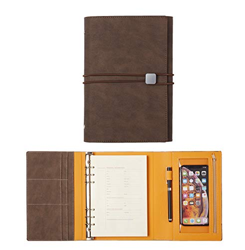 (JCT Hardcover Organizer Notebook - Faux Leather Journal with Pen Holder + Phone Pocket + Business Card Holder + Binders, Bonus Touch Screen Pen & A5 6 Hole Resume Papers & Lovely Sticker (Dark Brown))