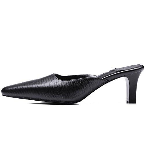 Nine Seven Cuero Moda Puntera Cuadrada Tacones de Vestir de Tacón Grueso para Mujer negro
