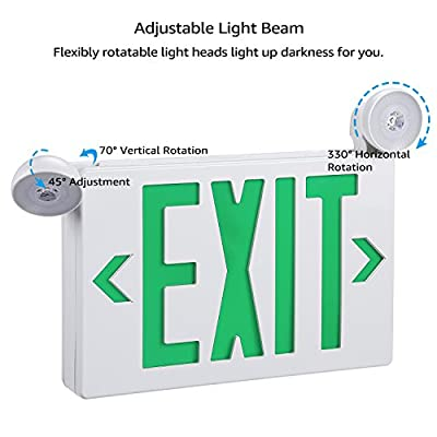 Green LED Exit Sign with UL Listed Emergency Light, AC 120V/277V, Battery Included, Ceiling/Side/Back Mount Sign Light, for Hotels, Restaurants, Shopping Malls, Hospitals, Pack of 2