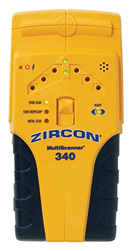 Zircon MultiScanner 340 Electronic Wall Scanner / Edge Finding Stud Finder for Wood and Metal Studs / Metal Detector for Plumbing / Live AC WireWarning Detection to Avoid Hazards by Zircon