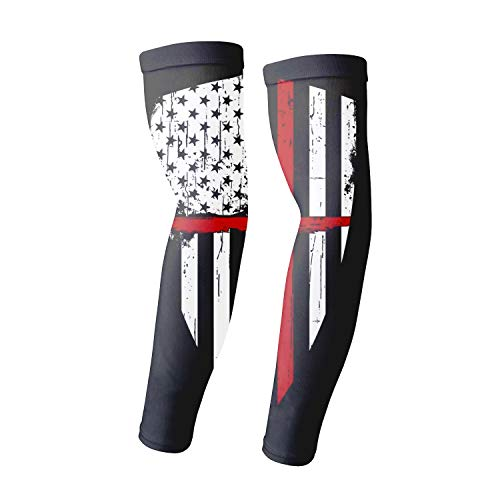 1 Pair Compression Arm Sleeves for Basketball Football Baseball - Red Line Crusader American ()