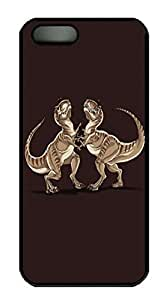 Covers Minimalist Dinosaurs Fight HAC1014344 Custom PC Hard Case Cover for iPhone 5/5S Black