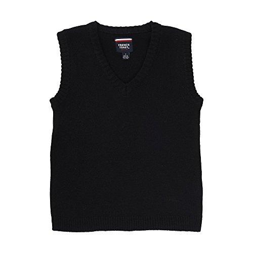 Black Sweater Vest - French Toast Big Boys' V-Neck Vest, Black, Large/10-12