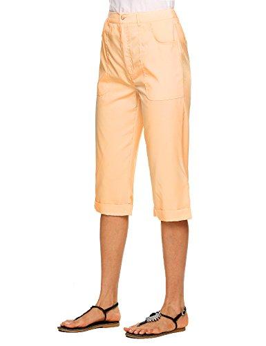 Zeagoo Women Stretch Capri Pants, Adjustable Length, Junior,Wheat,Large