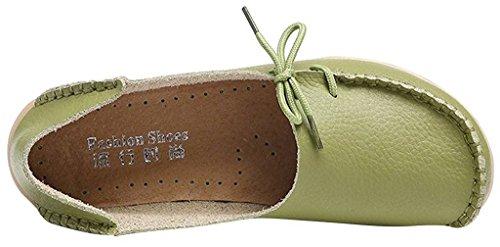 Sty Leather Loafers Slipper Moss Flat Slip Shoes Fangsto ONS 1 Green Women's pw8FxqB
