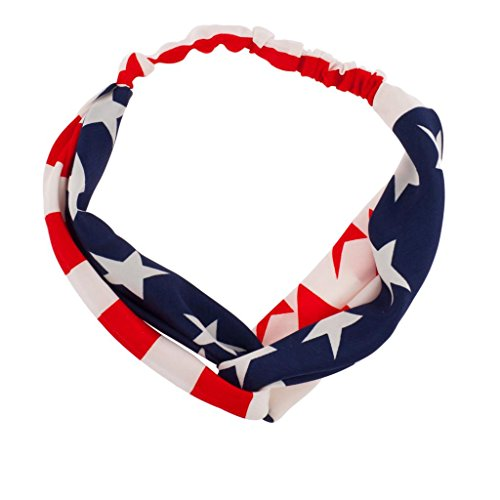 Lux Accessories America USA Americana 4th of July American Pride Red White & Blue Knotted Fabric Stretch Headband