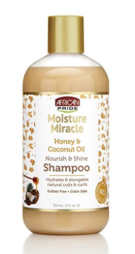 African Pride Moisture Miracle Honey & Coconut Oil Shampoo - For Natural Coils & Curls, Nourishes & Shines, Sulfate Free, Color Safe, 12 oz