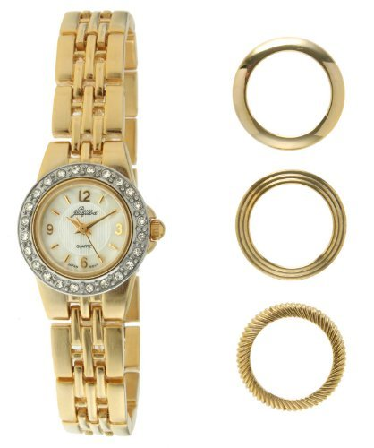 - Pierre Jacquard BZ4 Women's Gold-Tone Bezel Interchangable Gift Set Watch