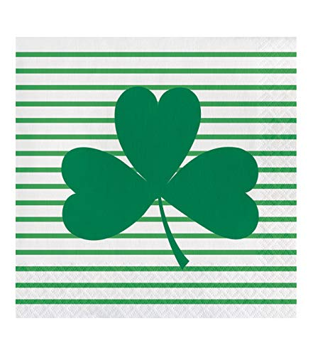 - Happy St. Patrick's Day Irish Shamrocks on Stripes 20 pk Paper Dinner Party Guest Towel Napkins