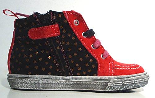 acebo's Spain Leder Sneaker Reißverschluss pink schwarz gold