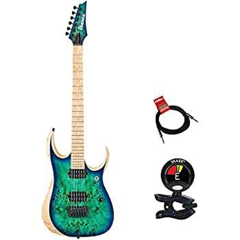 Ibanez RGDIX6MPB-SBB Iron Label RGD Series Electric Guitar Bundle in Surreal Blue Burst With Guitas Clip On Tuner and Instrument Cable - Guitars Package