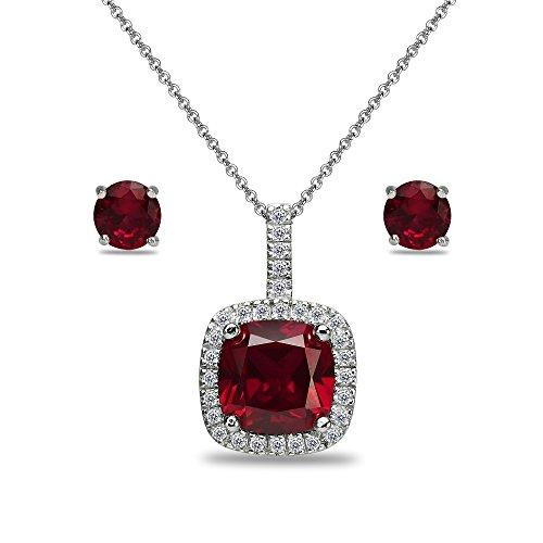 (Sterling Silver Created Ruby and White Topaz Cushion-Cut Pendant Necklace & Stud Earrings Set)