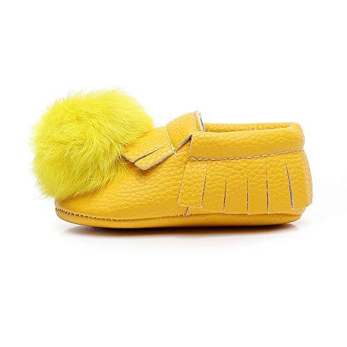 ❤ Zapatos Blandos para el Primer Paso del bebé, bebés recién Nacidos Solid Tassel Hairball First Walkers Zapatos Casuales de Suela Blanda Absolute: ...