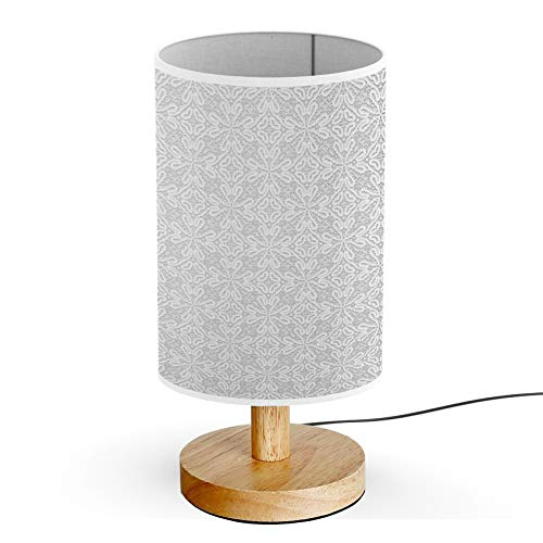 ARTSYLAMP - Wood Base Decoration Desk Table Bedside Light Lamp [ Vintage Greymade Tatting ]
