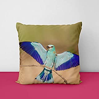 Bird's Square Design Printed Cushion Cover