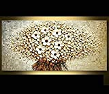 Orlco Art Hand painted landscape flower wall art abstract palette White cherry blossom oil painting on canvas family wall living room art wall decor Stretched And Framed 24'x48' 60x120cm