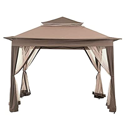 Sunjoy 110111002 Portia Beige Steel Square 10X10 Pop-Up Gazebo with Mosquito Netting, 9' x 10' x 10', Outdoor Portable Canopy Tent w/Carry Bag