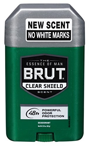 Brut Deodorant 2.25oz Oval Solid Clear Shield (3 Pack) ()