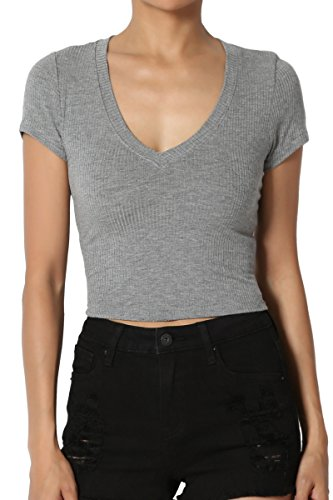 TheMogan Junior's Ribbed Jersey V-Neck Short Sleeve Crop Top Heather Grey M