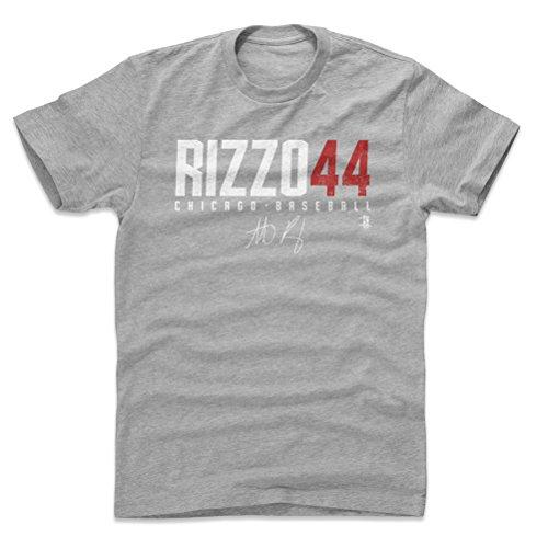 500 LEVEL Anthony Rizzo Cotton Shirt X-Large Heather Gray - Chicago Baseball Men's Apparel - Anthony Rizzo Rizzo44 W WHT (Shirt Cubs Gray Chicago)