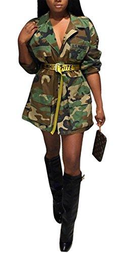 Safari Jacket Dress - Women's Casual Military Camo Lightweight Outwear Coat Camouflage Longline Jacket Safari Jacket Party Club Dress XXL