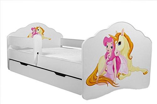 KOBI Lettino per Bambini Letto Ragazza con Unicorno Dimensioni 160x 80cm con Materasso e cassetto Prezzi offerte
